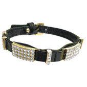 Hi-Craft Starlight Black Leather Dog Collar - 52cm