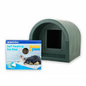 Mr Snugs Katden Cat Kennel & Self Heating Pet Pad - Dark Green