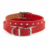 Ancol Heritage Leather Sewn/studded Collar Red