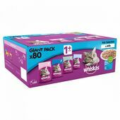 WHISKAS 1+ Cat Pouches Fish Selection in Jelly 80x100g Pack