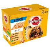 Pedigree Senior Wet Dog Food Pouches Mixed Selection in Jelly 12x100g