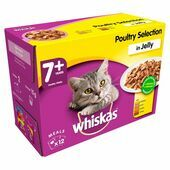 WHISKAS 7+ Cat Pouches Poultry Selection in Jelly 12x100g pk
