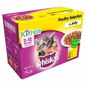 WHISKAS 2-12 Months Kitten Pouches Poultry Selection in Jelly 12x100g
