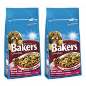 2 x 14kg Bakers Complete Bacon & Liver Adult Dog Food Multibuy