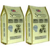 2 x 12kg Simpsons Premium 80/20 Mixed Chicken, Turkey & Fish Dry Dog Food Multibuy