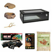 "The Pet Express Corn Snake Starter Kit - Black Vivarium (24"")"