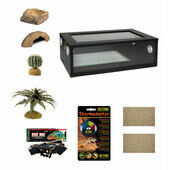 Medium Leopard Gecko Starter Kit - Monkfield Black Vivarium (24\