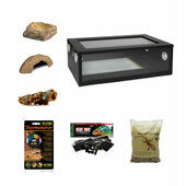 Medium Royal Python/Ball Python Starter Kit Monkfield Black Vivarium (24\