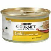 12 x 85g Gourmet Gold Savoury Cake Chicken In Gravy Cat Food