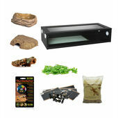 Royal/Ball Python Extra Large Monkfield Vivarium Starter Kit - Black 36 Inch