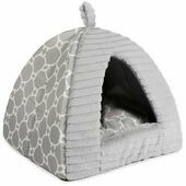 Ancol Sleepy Paws Plush Grey Pyramid Cat Bed