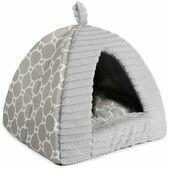 Sleepy Paws Plush Grey Pyramid Cat Bed