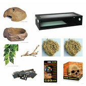 The Pet Express Corn Snake Starter Kit - Extra Large Black Vivarium (36