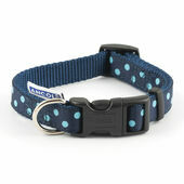 Ancol Vintage Polka Nylon Adjustable Dog Collar Blue Polka