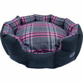 Hem and Boo Oval Snuggle Dog Bed in Pink Check