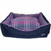 Hem and Boo Rectangle Dog Bed in Pink Check