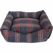 Hem and Boo Tartan Check Rectangle Dog Bed in Slate and Red