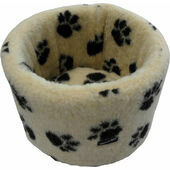 Hem and Boo Paw Fleece High Sided Cat Bed in Sand and Black