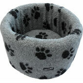 Hem and Boo Paw Fleece High Sided Cat Bed in Grey and Black