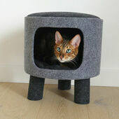 Rosewood Charcoal Felt Cat Snug Stool