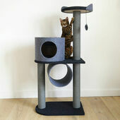 Rosewood Charcoal Felt Cat Scratcher Double Tower