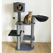 Rosewood Charcoal Felt Cat Triple Scratcher Tower