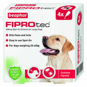 Beaphar FIPROtec Flea & Tick Spot On Large Dog (20-40kg) - 4 Treatments