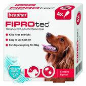 Beaphar FIPROtec Flea & Tick Spot On Medium Dog (10-20kg) - 4 Treatments