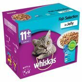 WHISKAS 11+ Cat Pouches Fish Selection in Jelly 12x100g pk