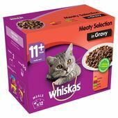 WHISKAS 11+ Senior Cat Pouches Meaty Selection in Gravy 48x100g