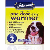 Johnson\'s One Dose Easy Wormer for Dogs - Size 2 (Medium Dogs 6 - 20kg) 2 tablets