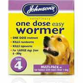 Johnson\'s One Dose Easy Wormer for Dogs - Size 4 (Dogs 6 - 80kg) 8 tablets