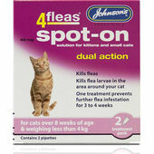 Johnson's 4fleas Spot-On Dual Action For Cats/Kittens Less than 4kg - 2 Treatments