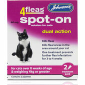 Johnson's 4fleas Spot-On Dual Action For Cats Over 4kg - 2 Treatments