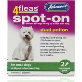 Johnson\'s 4fleas Spot-On Dual Action For Small Dogs - 4 to 10kg - 2 Treatments