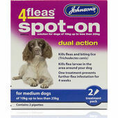 Johnson\'s 4fleas Spot-On Dual Action For Medium Dogs - 10 to 25kg - 2 Treatments