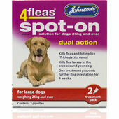 Johnson\'s 4fleas Spot-On Dual Action For Large Dogs - Over 25kg - 2 Treatments