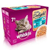 48 x 85g Whiskas 7+ Cat Food Pouches Pure Delight Fish Selection In Jelly