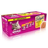 40 x 85g Whiskas 7+ Cat Pouches Pure Delight Poultry Selection In Jelly