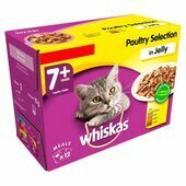 WHISKAS 7+ Cat Pouches Poultry Selection in Jelly 12x100g