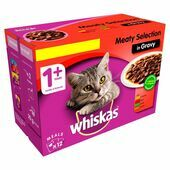 WHISKAS 1+ Cat Pouches Meaty Selection in Gravy 12x100g