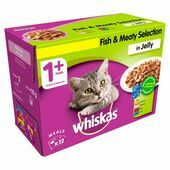 WHISKAS 1+ Cat Pouches Fish & Meaty Selection in Jelly 12x100g