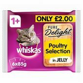 Whiskas 1+ Cat Pouches Pure Delight Poultry Selection in Jelly 6x85g