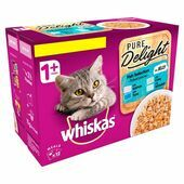 Whiskas 1+ Cat Pouches Pure Delight Fish Selection in Jelly 12x85g