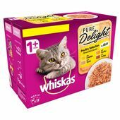 Whiskas 1+ Cat Pouches Pure Delight Poultry Selection 12x85g