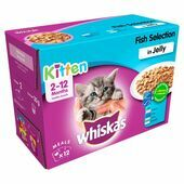 WHISKAS 2-12 Months Kitten Pouches Fish Selection in Jelly 12x100g