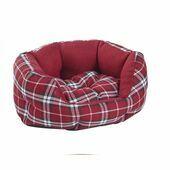 Do Not Disturb Pet Bed Red Tartan