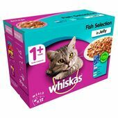 WHISKAS 1+ Cat Pouches Fish Selection in Jelly 12x100g