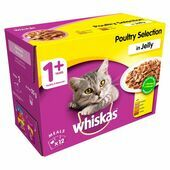 WHISKAS 1+ Cat Pouches Poultry Selection in Jelly 12x100g