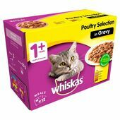 WHISKAS 1+ Cat Pouches Poultry Selection in Gravy 12x100g